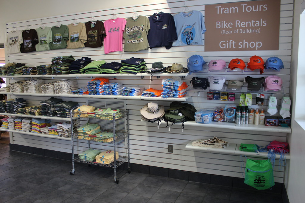 Beautiful Shark Valley Clothing displayed in the Shark Valley Tram Tours gift shop