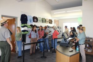 A group of guests in the Shark Valley Tram Tours gift shop.